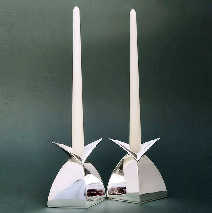 Small silver wing candlesticks polished bodys with engraved sconce