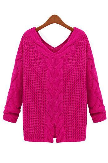 Loose long-sleeved V-neck sweater