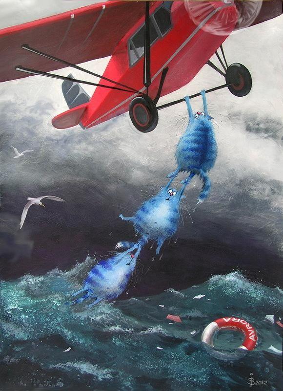 Прекрасные синие коты минской художницы Рины З. - Ярмарка Мастеров - ручная работа, handmade