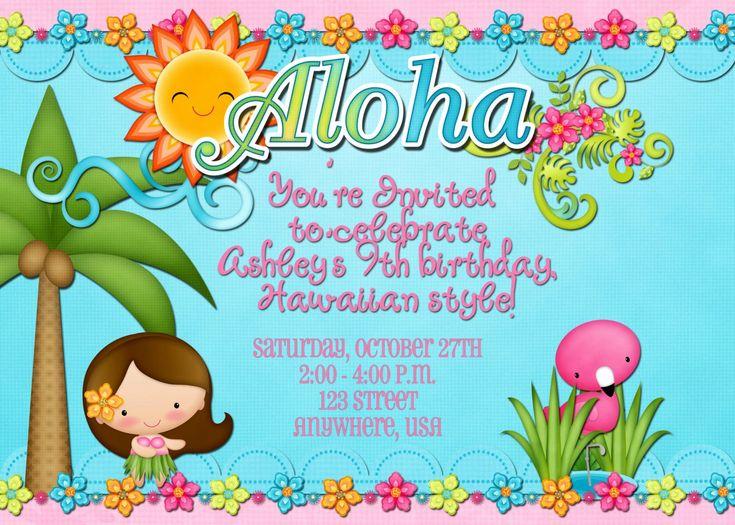 Free printable luau birthday invitation beautiful hawaiian