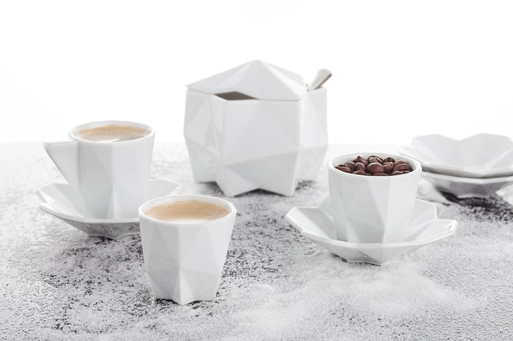 Lilia Coffee Set - hand crafted geometric porcelain collection