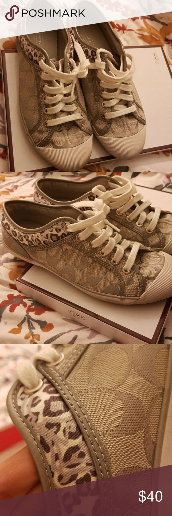 Silver and white comfy Coach sneakers Be casual, fashionable and fun with these minimally used Coach sneakers Coach Shoes Sneakers