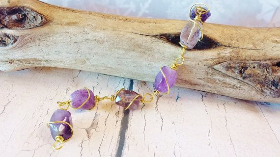 $29.90 - Chunky Amethyst Bracelet ~ Gold Wire Wrapped Rectangular Gemstone Nuggets ~ Bohemian, Earthy Jewelry for February Birthday, AA Sponsor