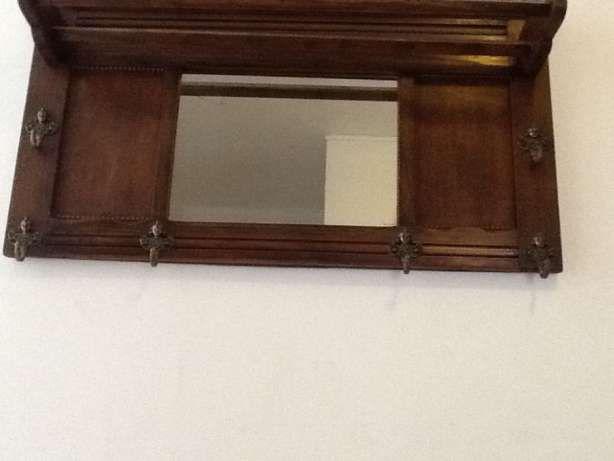 Art Nouveau cuier lemn nuc cu șase agatatori, oglinda si polița Voluntari - imagine 1