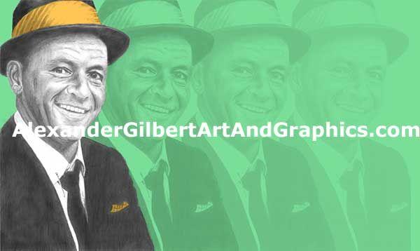 Frank Sinatra celebrity artwork by Alexander Gilbert.  Buy prints here: http://fineartamerica.com/featured/frank-sinatra-individual-yellow-on-green-alexander-gilbert.html  Original pencil sketch here: http://fineartamerica.com/featured/frank-sinatra-pencil-alexander-gilbert.html