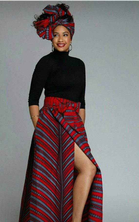 Sale African Print Ankara fabric African Attire Long Maxi Skirt Dress with Pockets and Headwrap or scarf