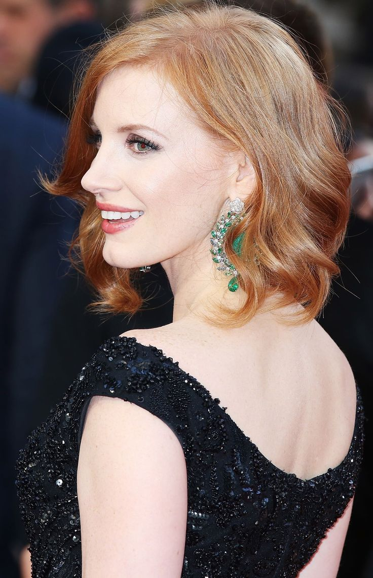 Jessica Chastain...adorable little overbite, pale skin, blue eyes, red hair, classy. #perfect