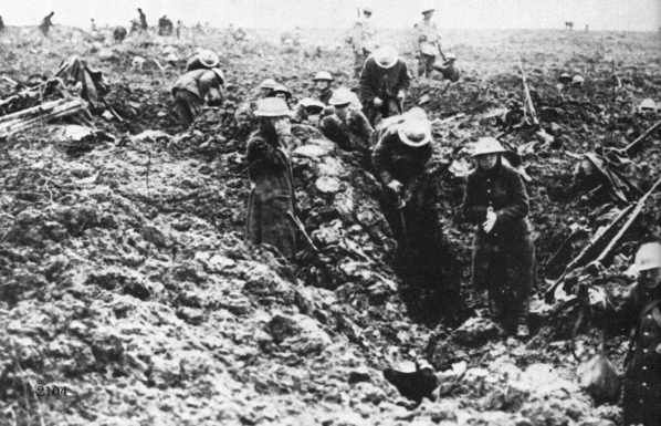 Trench warfare by Canadian soldiers at the Battle of Vimy Ridge in April 1917.