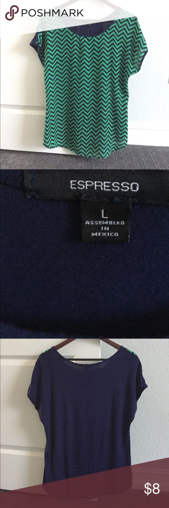 Espresso Chevron Shirt GUC- Cute top - paired it with an open navy blue sweater - It says large, but I think it's more like a big medium. Tops