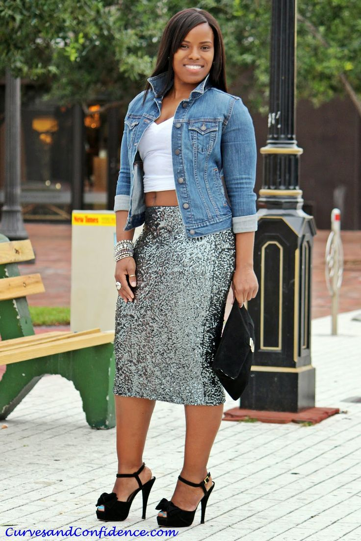 Curves and Confidence | @Target Skirt | @Old Navy Denim jacket and T - shirt | Sequin Pencil Skirt |