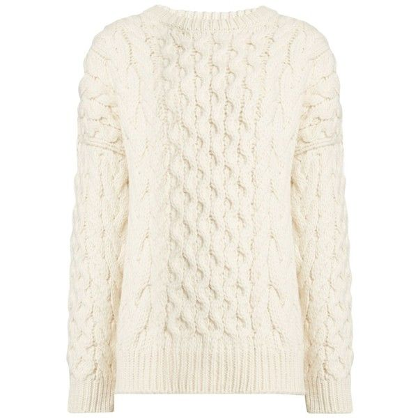 Joseph Cable Sweater in ECRU found on Polyvore featuring tops, sweaters, blusas, shirts, suéter, ecru, white tops, cableknit sweater, white cable sweater and white shirt