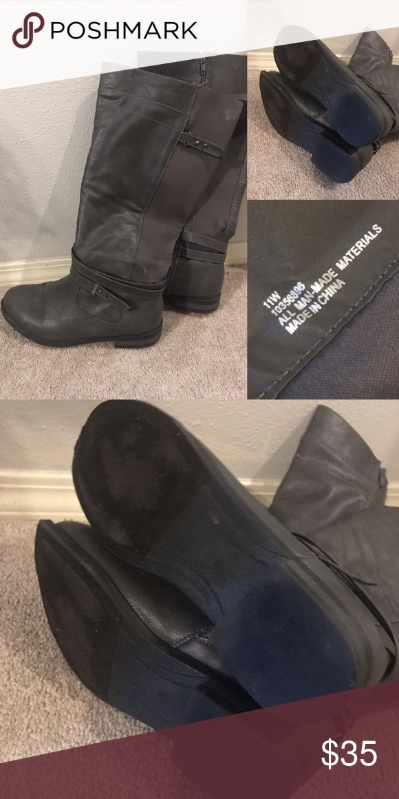 Torrid Grey Size 11 Wide Calf Boots Adorable, cozy grey boots. Previously worn. Wide calf and wide sole. Size 11 women's shoes. Hits just below knee. torrid Shoes Combat & Moto Boots