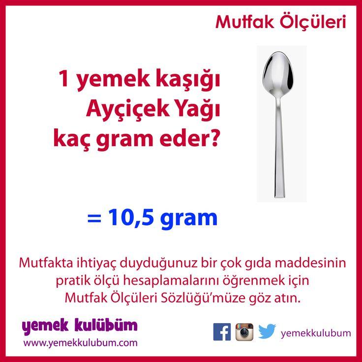 PRATİK MUTFAK ÖLÇÜLERİ : Bir yemek kaşığı Ayçiçek Yağı kaç gram eder?   http://yemekkulubum.com/icerik_sayfa/gida-olculeri