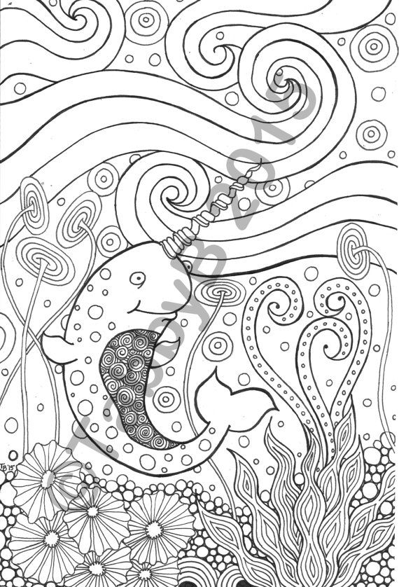 Narwhal Tangle art, Cat coloring page, Coloring pages