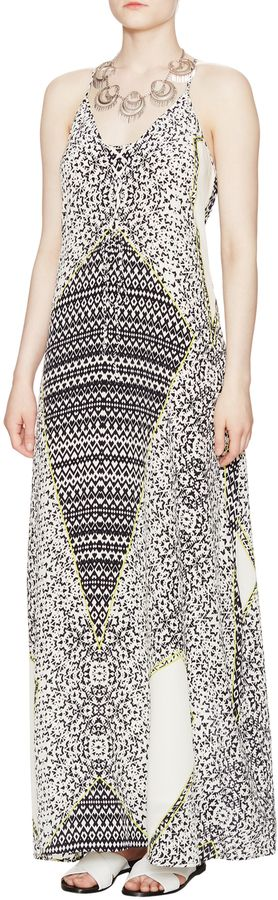 Charlie Jade Women's Printed Silk V-Neck Maxi Dress