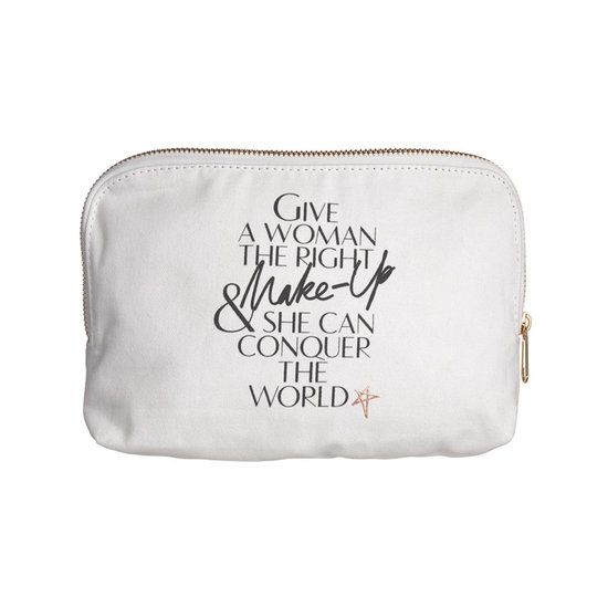 The Charlotte Tilbury Makeup Bag is a cotton canvas makeup bag  printed with the fabulous lip prints of some of the most iconic women in fashion. It's the perfect size for holding all your makeup when you're on the go! The bag has a gold zip, black lining and is machine washable.