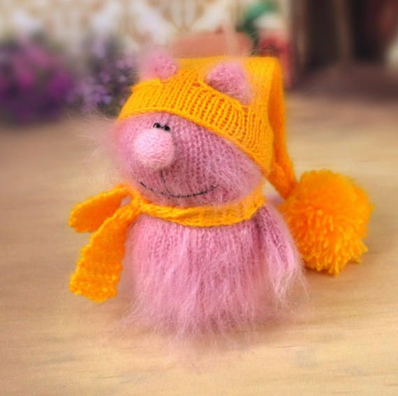 Pink Cat in Yellow Hat Hand-Knitted cat Toy Amigurumi cat
