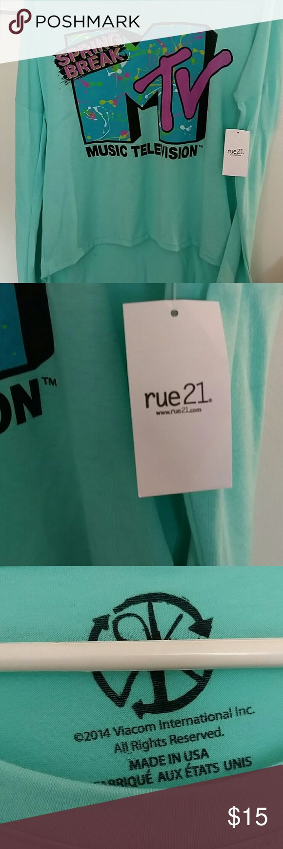 NW2 you rue21 women's top MTV TV long sleeve 2014 new attacks Music Television spring break themed MTV long sleeve off Greene. By Rue 21 really cute shirt. Measurements are from neck to sleeve 28 inch and 20 inches across size small Rue 21 Tops Tees - Long Sleeve
