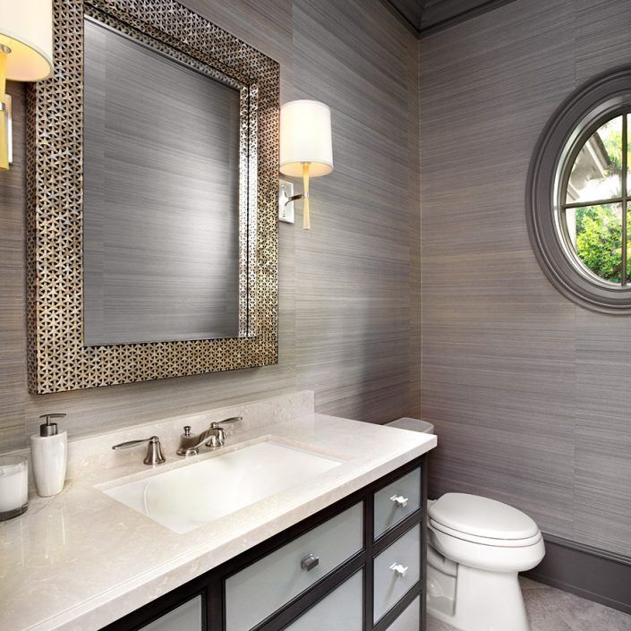 Gray Powder Room With Grey Grasscloth: 17 Best Images About BATHROOMS On Pinterest