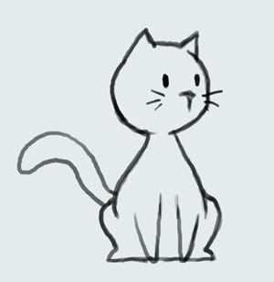 Cat Outline Cute Drawing And Cartoon On Pinterest