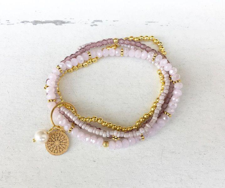 Armbänder - Armband rosa / gold, 4-reihig - ein Designerstück von moanda bei DaWanda
