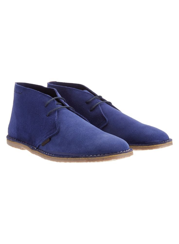 Ben Sherman branded blue suede desert boots on a white sole with  contrasting white stitching and black laces. from Burton.