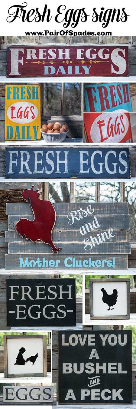 Handmade rustic farmer's market style fresh eggs signs.  Made to fit any decor or space in your farmhouse cottage.  Must buy these for our kitchen remodel.  Would look perfect on our rustic baker's rack!