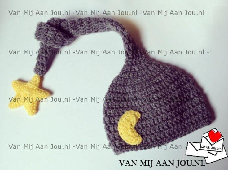 newborn baby en peutermaat - voor meisjes en jongens - elfenmuts - muts op bestelling gehaakt - met de hand op maat en kleur gehaakt - www.vanmijaanjou.nl -