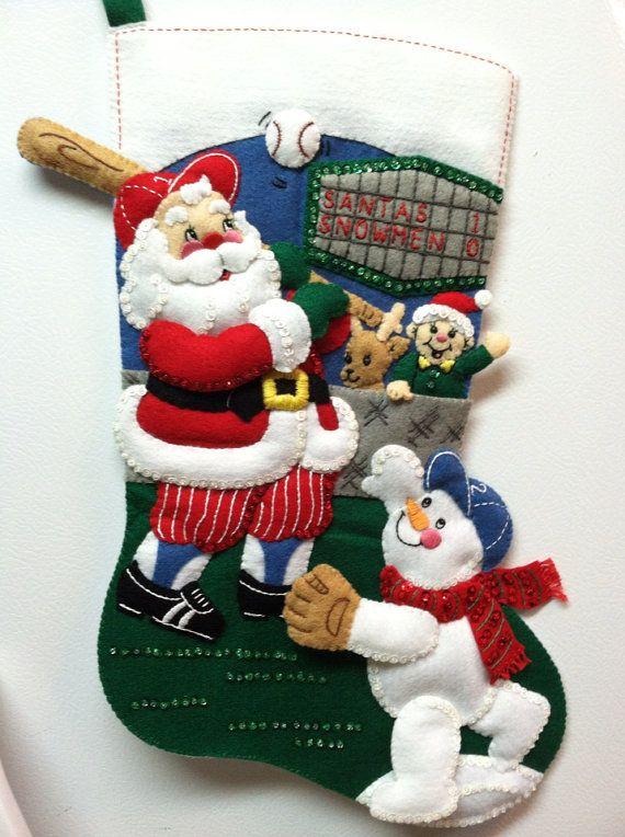 "EXTREMELY RARE - 18"" Completed Hand Sewn Bucilla Christmas Stocking Baseball Santa"