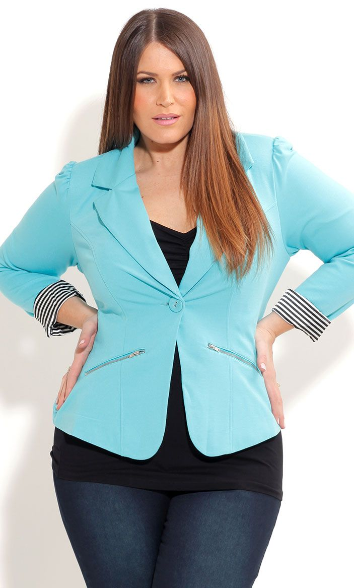 City Chic ZIP TRIM JACKET-Women's Plus Size Fashion