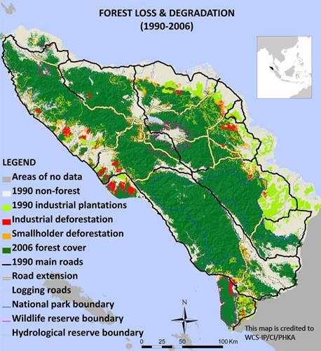 Map of deforestation in Sumatra (19902006),