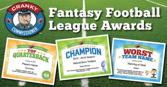 Fantasy football award certificates from the Cranky Commissioner™. Perfect for Fantasy Football commissioners.