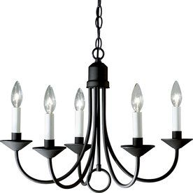 Progress Lighting 21-In 5-Light Textured Black Shaded Chandelier P4008