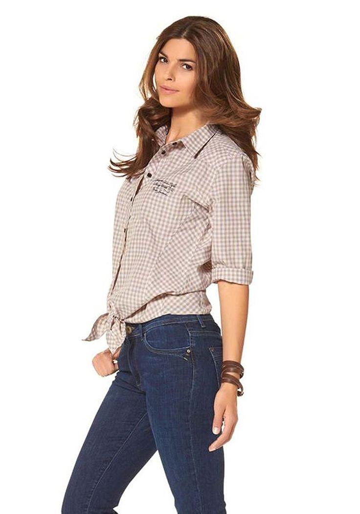 Cross Jeans Damen Bluse kariert Karobluse Knotenbluse Slim Fit Beige XL: Amazon.de: Bekleidung