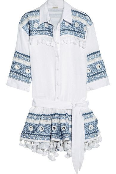 EXCLUSIVE AT NET-A-PORTER.COM. Dodo Bar Or's playsuit is made from airy cotton-gauze decorated with white eyelets, blue embroidery and playful tassels along the yoke and hem. Slip yours on over a bikini or style it with sandals for exploring on vacation.