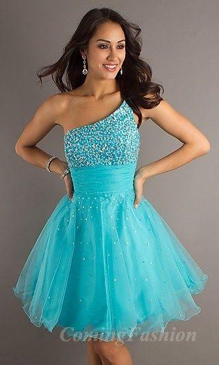 Short Blue One-Shoulder Dress