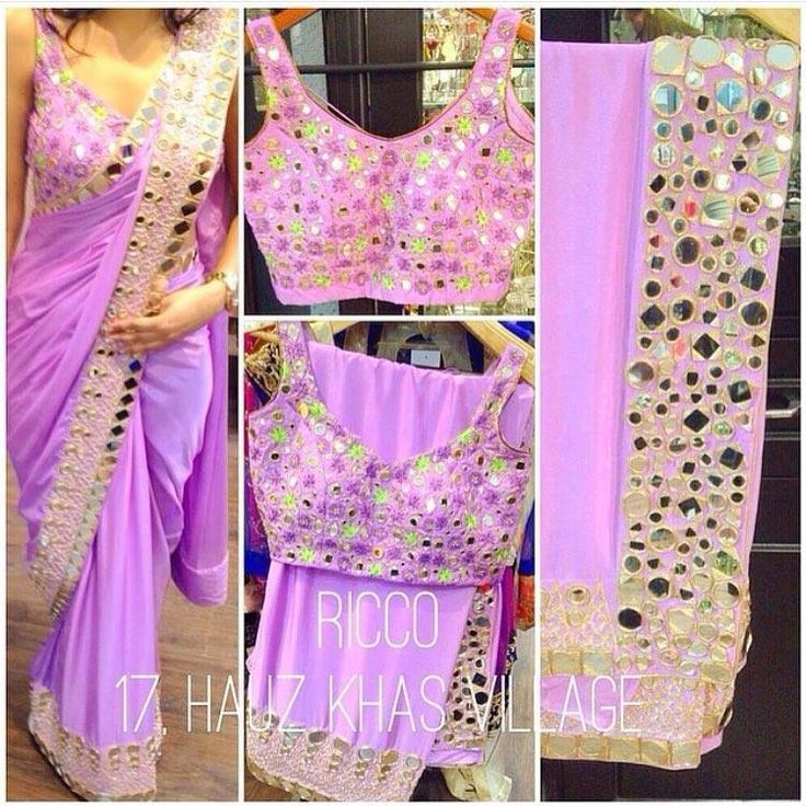 Mirror, thread and gota work saree with a concept blouse for the summers