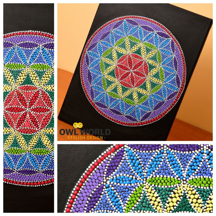 A mandala painted in dots, on a 30 cm x 40 cm canvas.   #owlworld #stylish #design