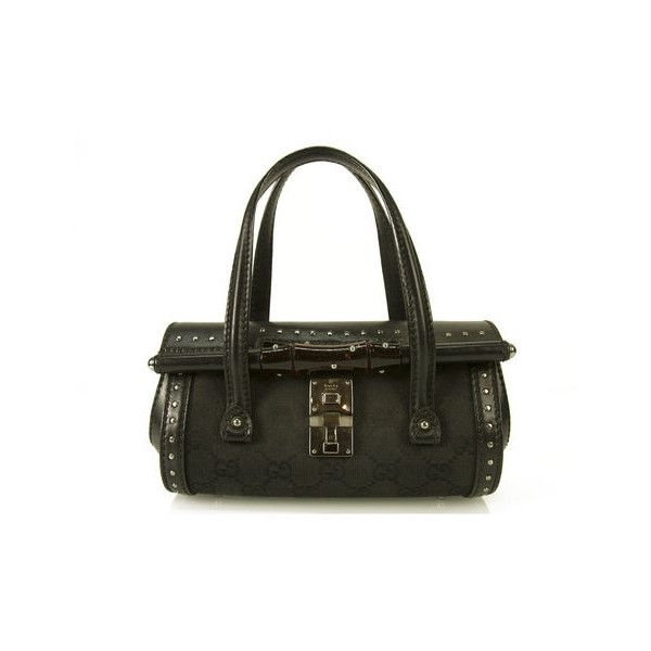 Gucci Mini Black GG Monogram Studded Canvas Leather Bag Bamboo Barrel... via Polyvore featuring bags, handbags, canvas purse, gucci handbags, gucci purses, man bag and studded handbags