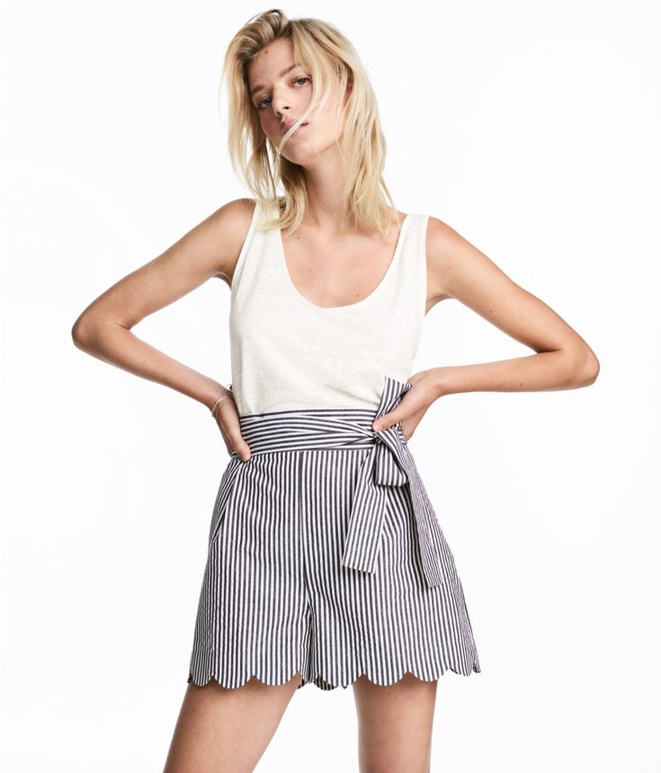 Check this out! Wide-cut, high-waisted shorts in woven cotton fabric with a zip fly, tie belt, and scalloped hems. - Visit hm.com to see more.