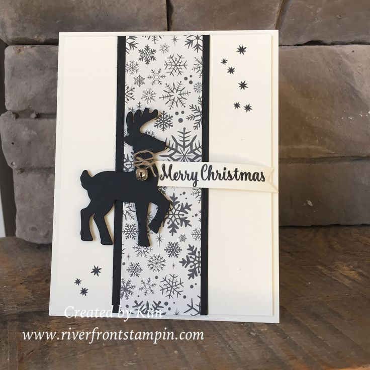 Paper Craft Christmas Card Ideas Part - 38: Use Colour From Whatever DSP. Use Rhinestones As Bling. Strip For Banner.  Could Make This Really An Easy Card. Embossed White 4 X Background Piece?