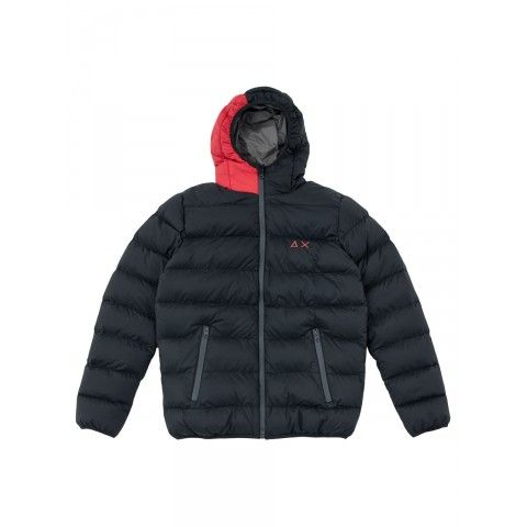 Black Synthetic padded jacket with red details on the hood. SUN68 Man FW15 #SUN68 #FW15 #man #jacket