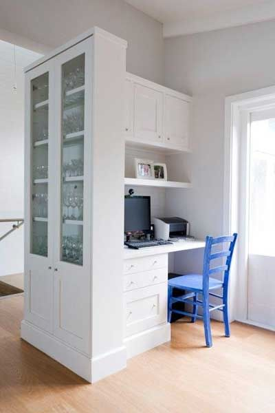 Cabinets like these to separate kitchen and dining room for Built in study table