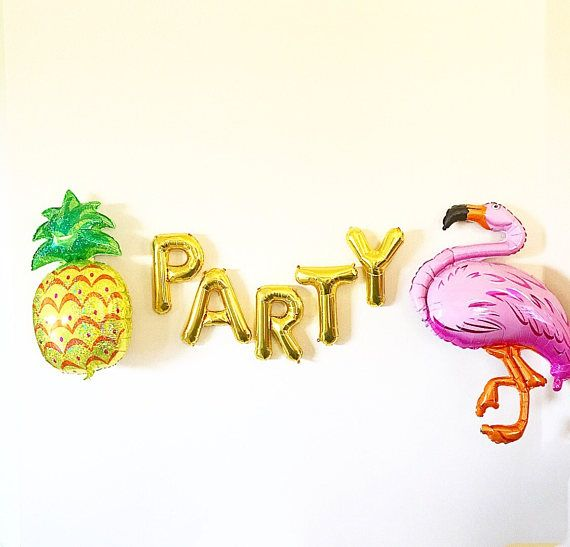 Party Gold Letter Ballons with Jumbo Flamingo and Pineapple