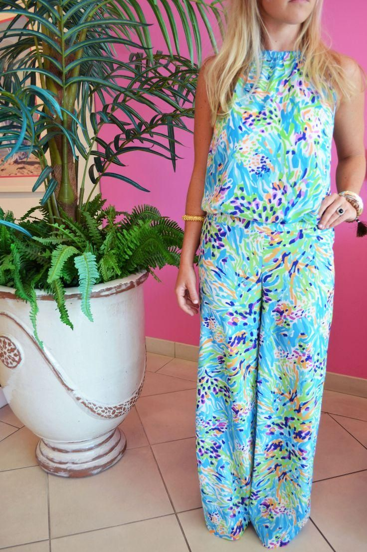 Lilly Pulitzer Skylar Halter Top & Middleton Palazzo Wide Leg Pant in Sea Soiree