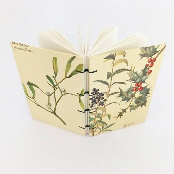 Winter Journal Christmas Notebook Holly Mistletoe