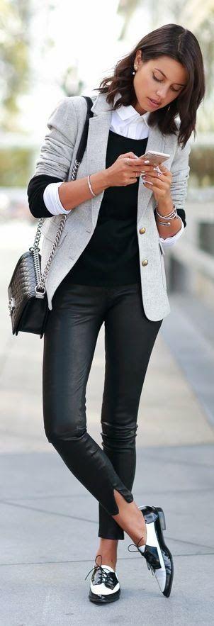 Grey jacket, trousers, flats handbag