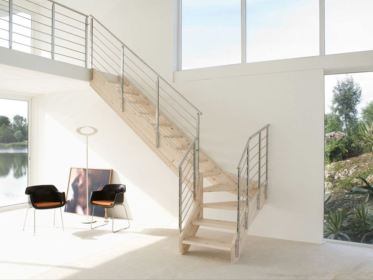 Escalier ouvert en acier et bois à limons latéraux STYLE Ligne STYLE by Novalinea