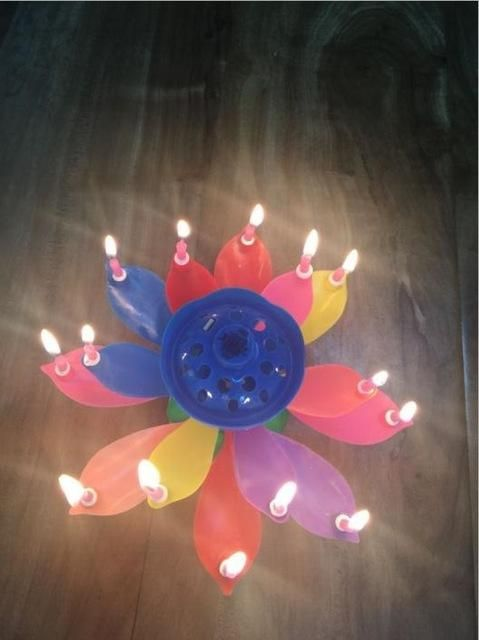 13 Parttens Electronic Art Candle Double Layer Rotating Musical Lotus Birthday Candle Birthday Candle Gift for Kids Birthday