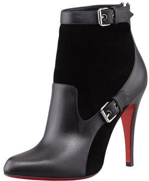 Christian Louboutin Canassone Buckled Suede-Leather Bootie on shopstyle.com
